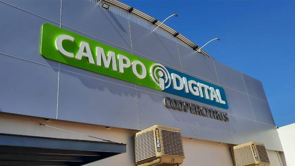 Fachada da loja campo Digital da coopercitrus em Cistralina, GO