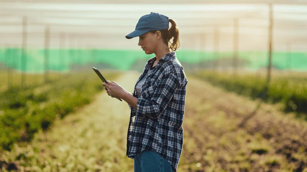 mulher com tablete analisando dados campo